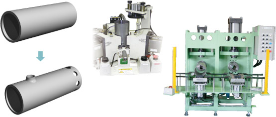 Drilling and burring process machine